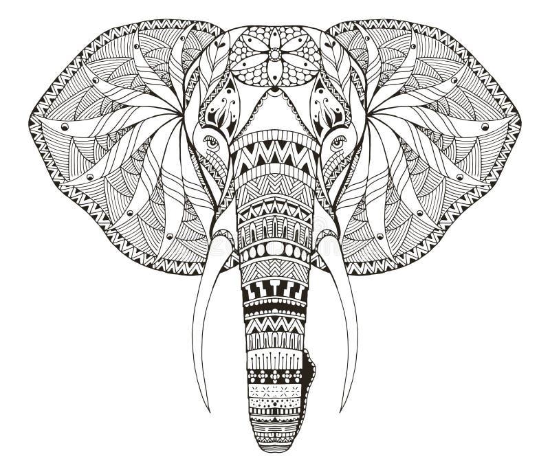 El zentangle principal del elefante estilizó, vector, ejemplo, a pulso stock de ilustración