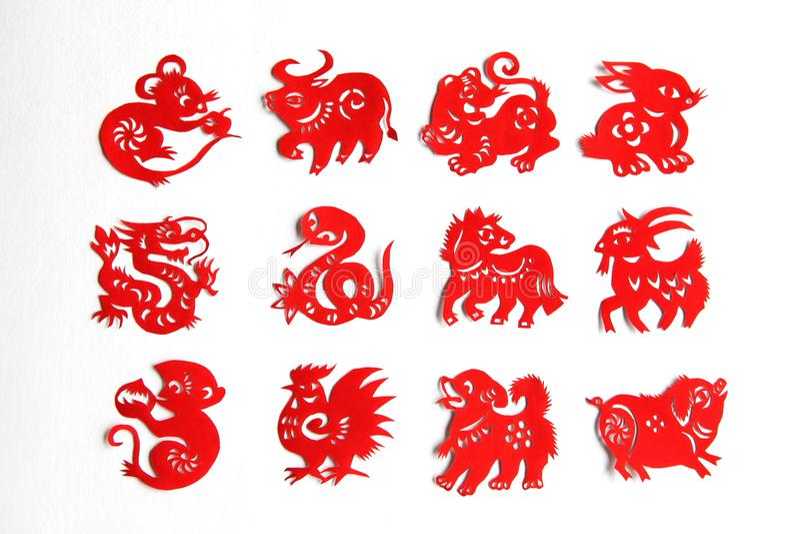 El zodiaco chino, 12 animales del zodiaco, el papercutting chino foto de archivo