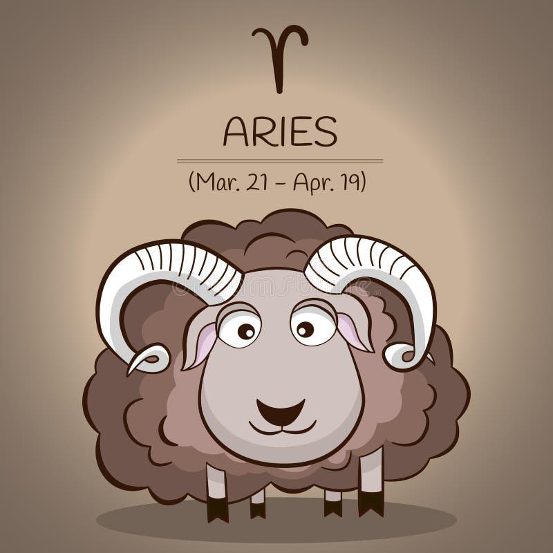 El zodiaco del aries firma adentro vector como personaje de dibujos animados retro del vintage libre illustration