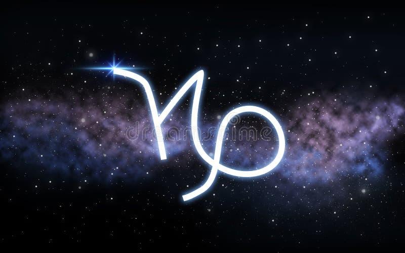 El zodiaco del Capricornio firma encima el cielo nocturno y la galaxia stock de ilustración