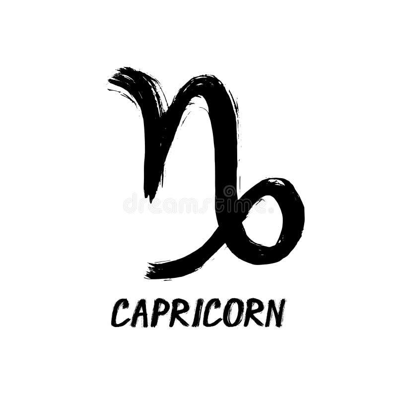 El zodiaco del Grunge firma - Capricornio - el Cabra-de cuernos stock de ilustración