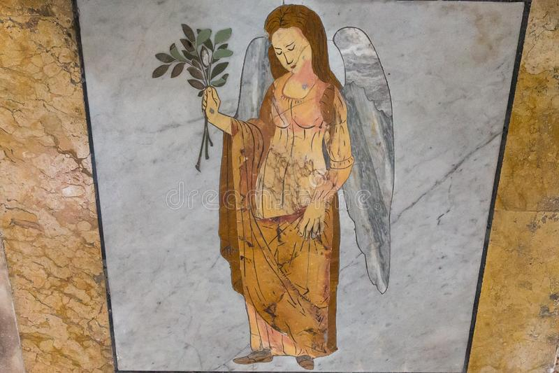 El zodiaco del reloj de sol firma en el piso en la basílica de St mA imagen de archivo libre de regalías