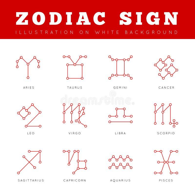 El zodiaco firma adentro el impreso de las líneas, puntos conectados libre illustration