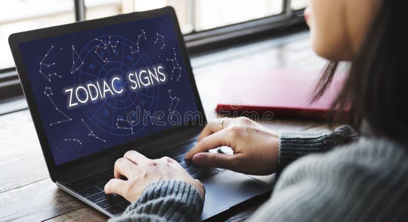 El zodiaco firma concepto astrológico astral del calendario del nacimiento imagen de archivo libre de regalías