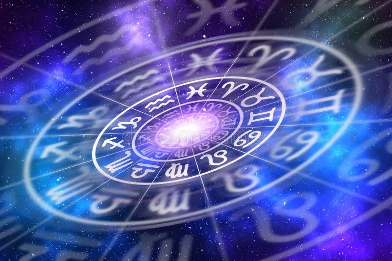 El zodiaco firma dentro de círculo del horóscopo en fondo del universo stock de ilustración