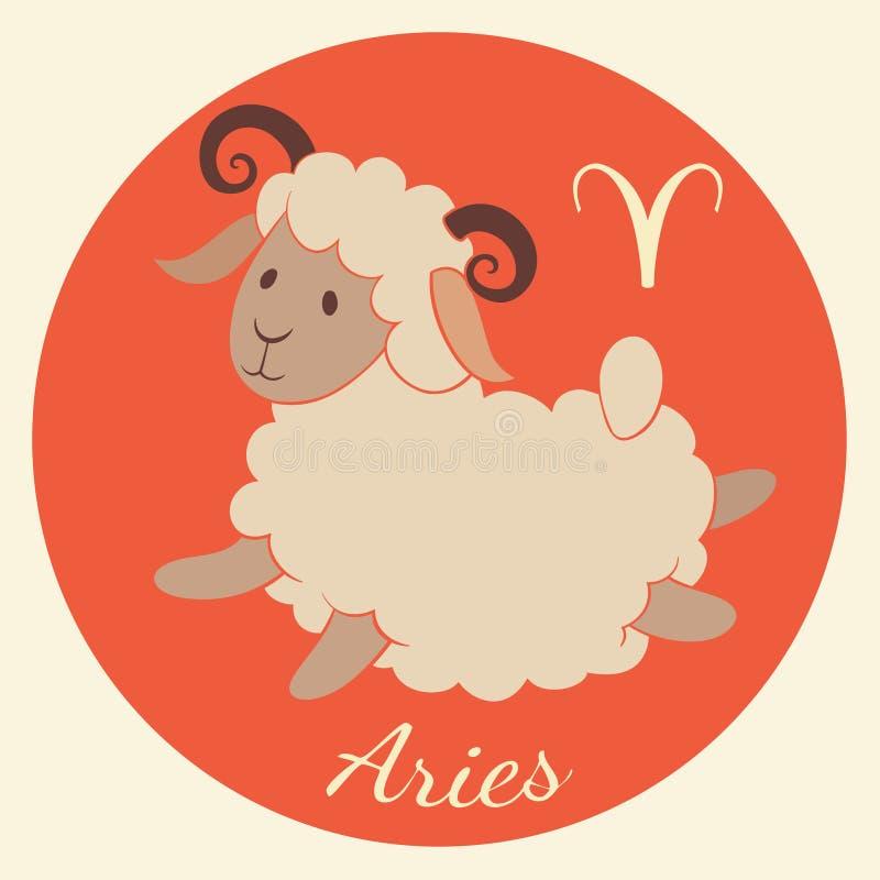 El zodiaco lindo firma el icono aries ilustración del vector