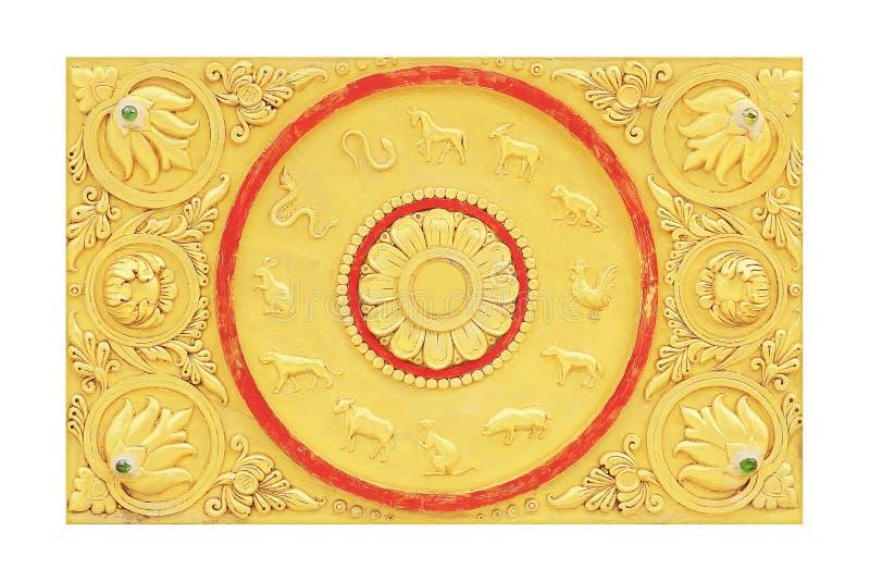 El zodiaco tailandés 12 en la pared en templo fotos de archivo