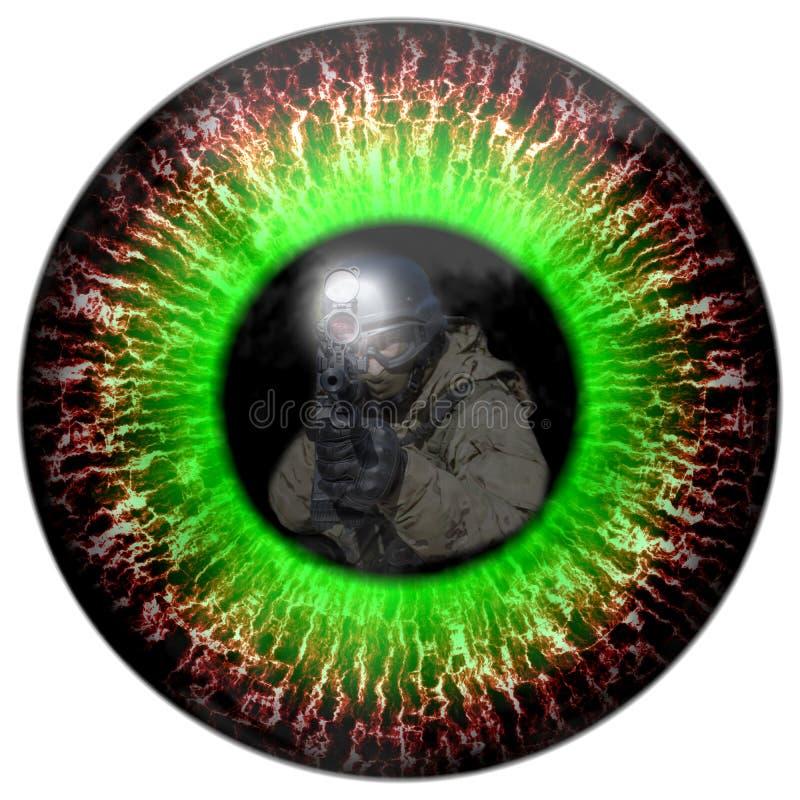 El zombi observa con el soldado dirigido reflexión Observa el asesino Contacto visual mortal stock de ilustración