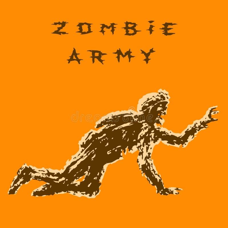 El zombi que el soldado en casco está se arrastra en todos los fours Ilustración del vector ilustración del vector