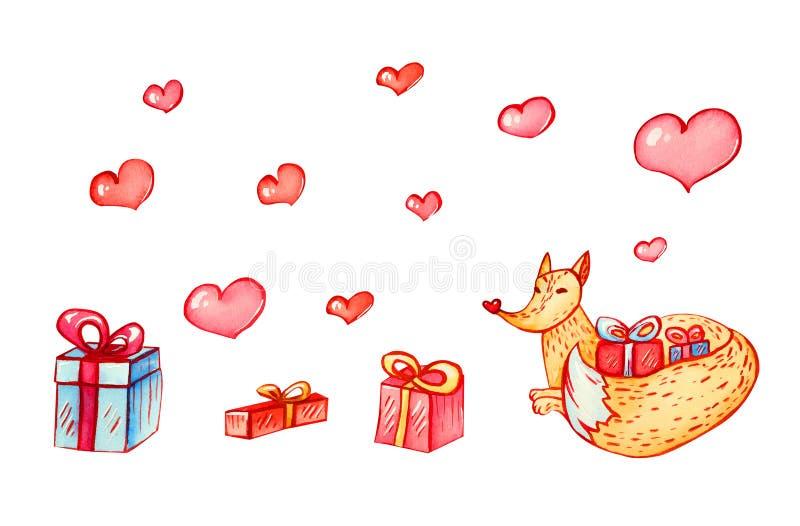 El zorro festivo de la acuarela abraza la cola de los regalos stock de ilustración