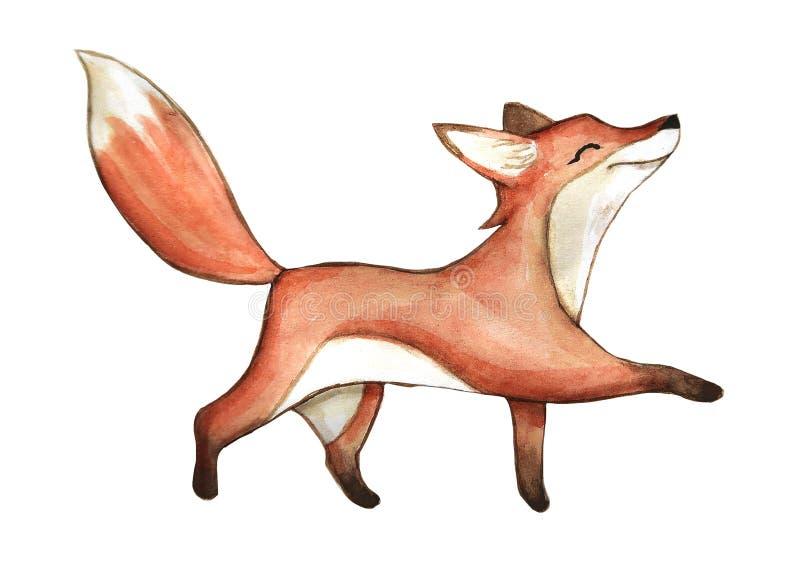 El zorro lindo de la acuarela, ejemplo aislado bueno para la ropa del bebé imprime, tarjeta de felicitación de los niños libre illustration