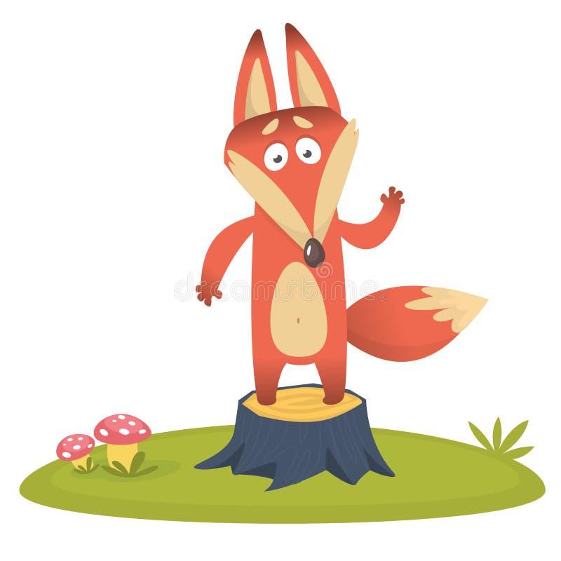 El zorro lindo juega en tocón en el prado Vector el ejemplo con un animal en un estilo infantil de la historieta ilustración del vector