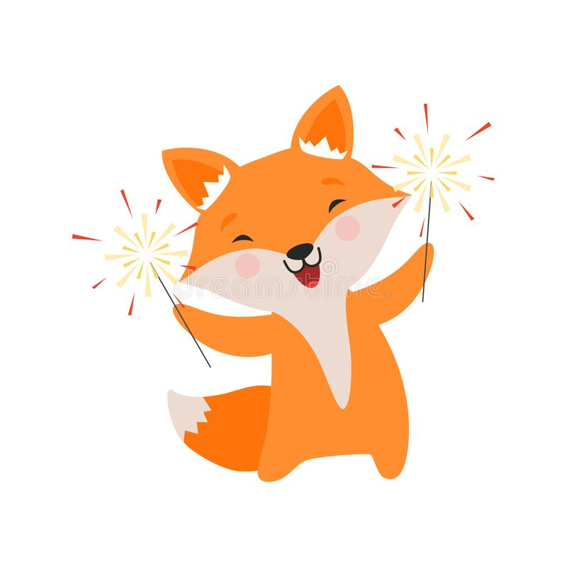 El zorro lindo que celebra con las bengalas, carácter animal de la historieta preciosa, plantilla del diseño puede ser utilizado  stock de ilustración