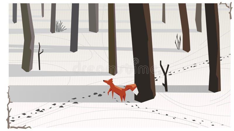 El zorro simple del ejemplo del vector en invierno atacó el rastro de a stock de ilustración