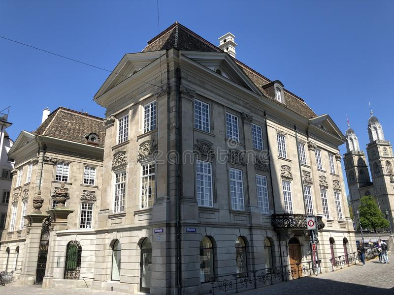 El zur Meisen - casa de Zunfthaus del gremio en el cuarto de Lindenhof en Zurich imagen de archivo