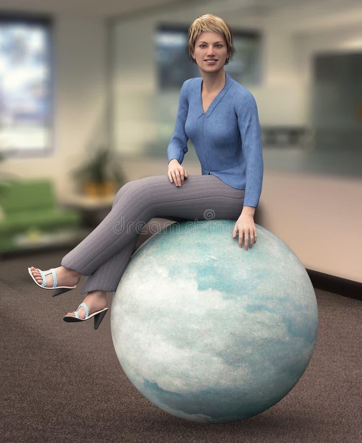 Ela ` s no idioma do negócio do conceito da bola ilustração do vetor