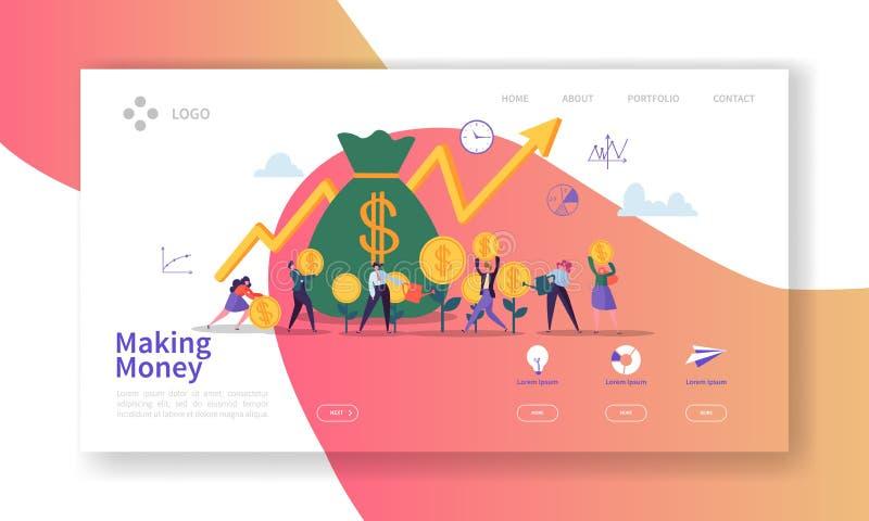 Elaboración de la página del aterrizaje del dinero Bandera de la inversión empresarial con los caracteres planos de la gente que  ilustración del vector