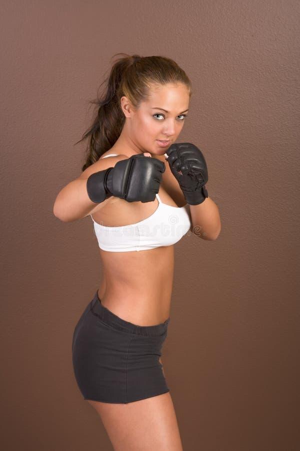 Elaboración femenina del boxeador del retroceso fotos de archivo libres de regalías