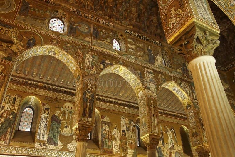 Elaborate Byzantine style mosaics cover the Capella Palatina. PALERMO, SICILY - NOV 28, 2018 - Elaborate Byzantine style mosaics cover the walls and columns of royalty free stock images
