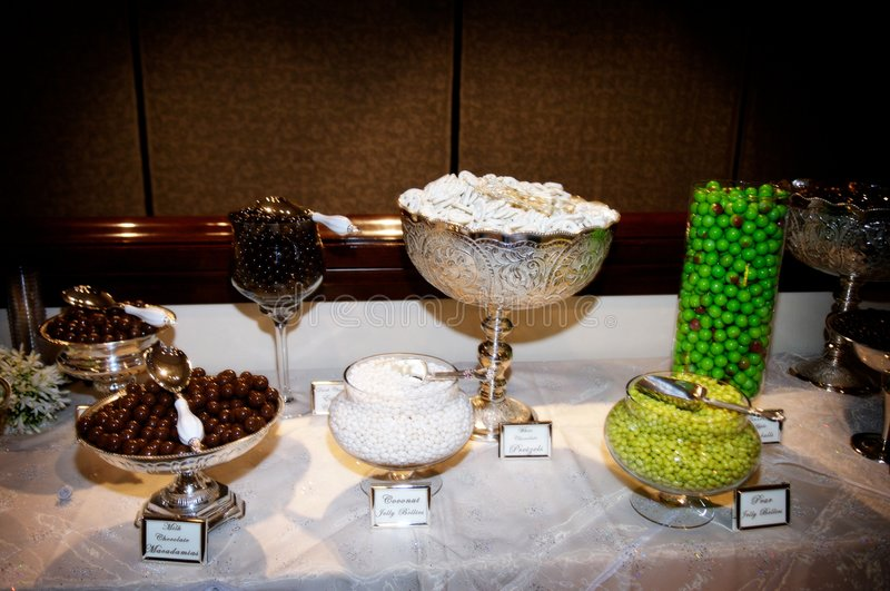 Elaborate candy bar at wedding reception royalty free stock photography
