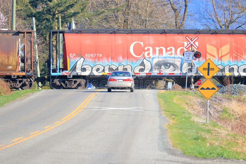 Skillful Graffiti Artwork. The elaborate graffiti of an eye painted on a Canadian Pacific locomotive on a rail crossing near Chilliwack, BC, Canada on April 1 royalty free illustration