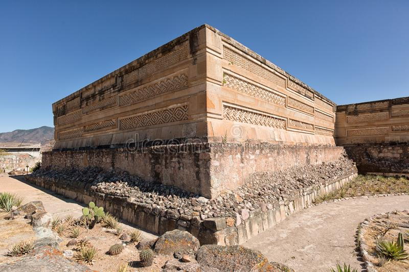 Zapotec ruins in Mitla Mexico. Elaborate and intricate mosaic fretwork and geometric designs that cover tombs, panels, friezes and even entire walls at Mitla stock photos