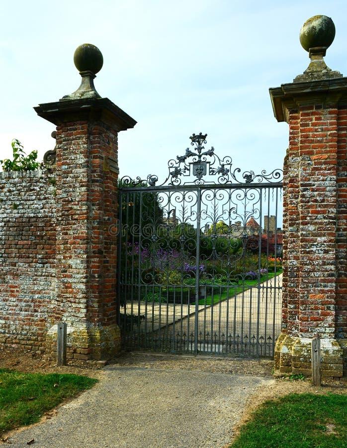 Iron gates to country estate stock image
