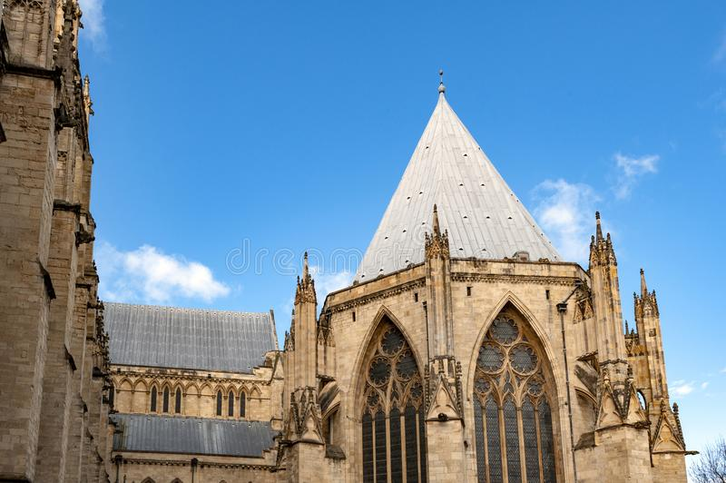 Exterior building of York Minster, the historic cathedral built in English gothic style located in City of York, England, UK. Elaborate tracery on exterior stock photo
