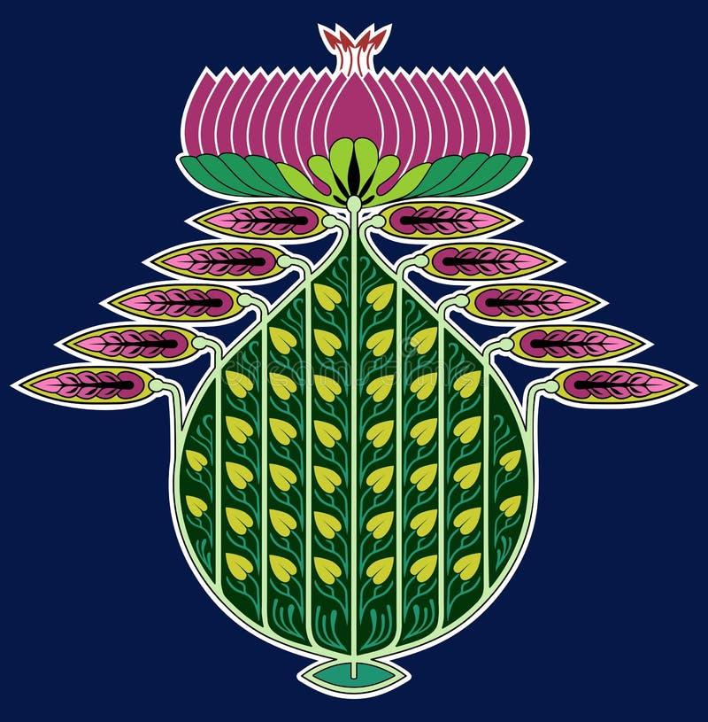 Persian Nouveau Ornament with lotus flower vector illustration