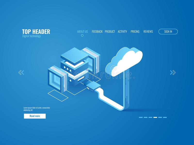 Elaborazione dei dati, collegamento della stanza del server con il magazzino di registrazione della nuvola, copia di informazioni illustrazione di stock
