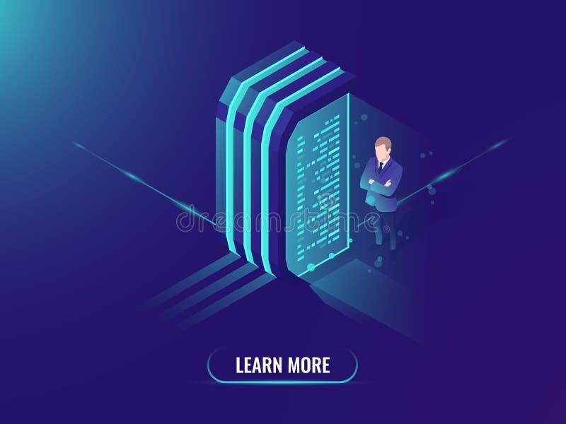 Elaborazione dei dati e gestione di informazioni, vettore isometrico di concetto di scienza di dati, stanza del server, neon scur illustrazione di stock