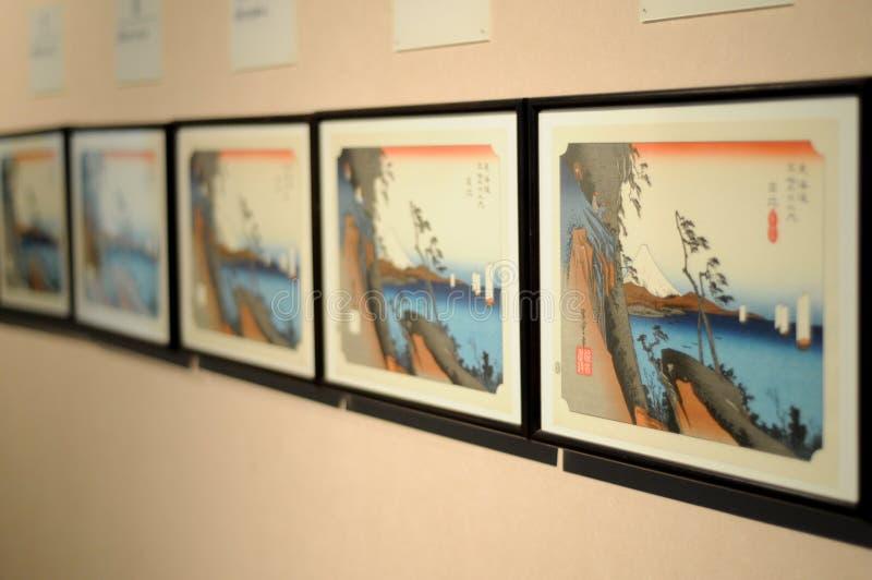 Elaborazione delle immagini del materiale illustrativo di Tokaido Fuji Il museo di Tokaido Hiroshige è situato a Shizuoka, Giappo immagini stock
