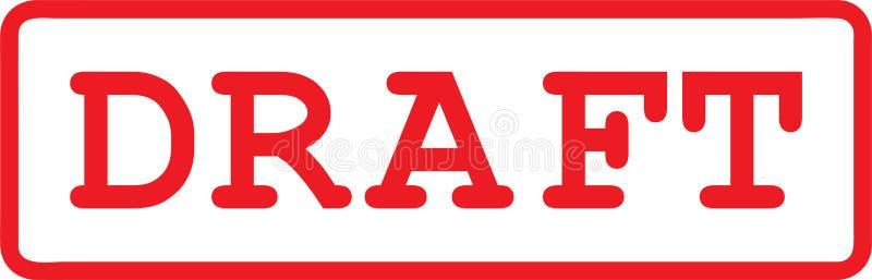 Elabore el texto rojo en caracteres de la máquina de escribir y el marco rojo como ejemplo del vector del sello de goma stock de ilustración