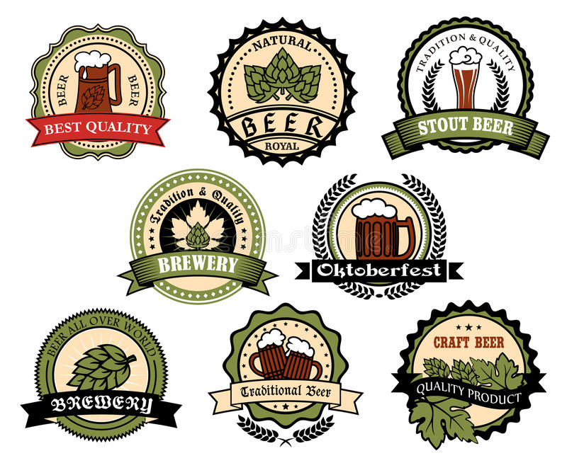 Elabori la birra, la birra inglese, insieme di etichetta delle bevande dell'alcool della lager illustrazione vettoriale