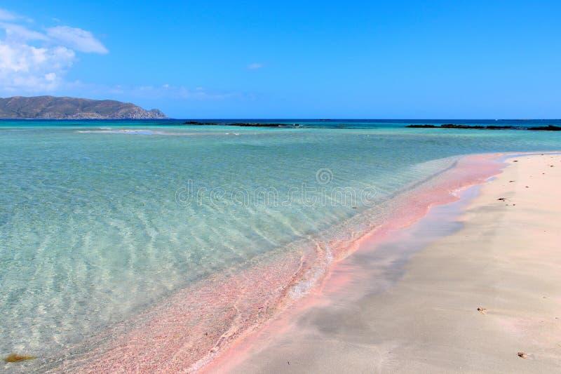 Elafonisi桃红色海滩 库存图片