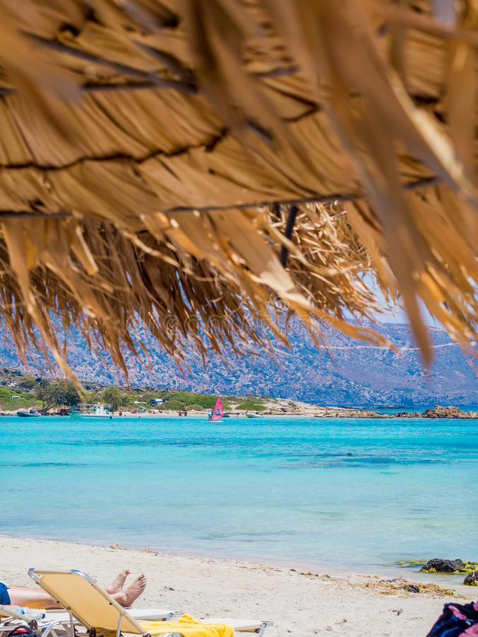 Elafonisi, Крит, Греция, пляж рая с водой бирюзы, близко к острову Крита стоковые фотографии rf
