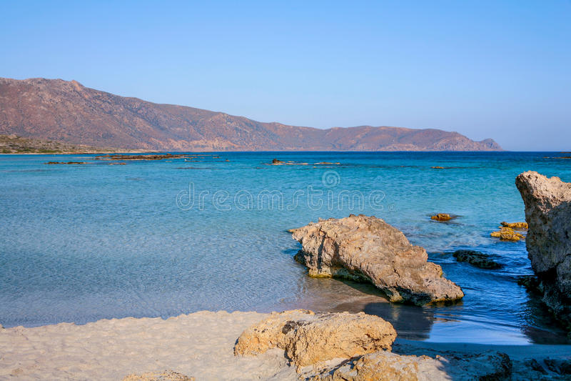 Elafonisi wyspy widok zdjęcia stock