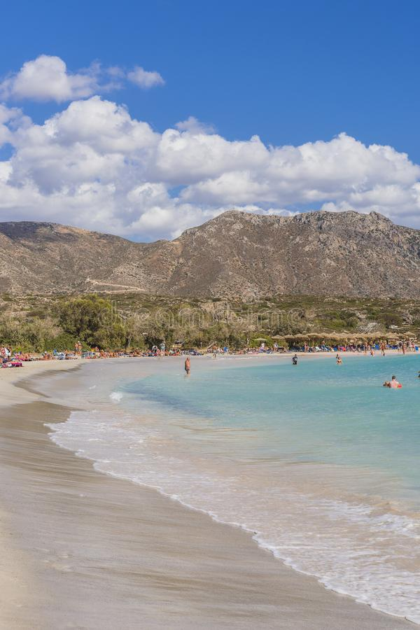 Elafonissi beach. Lagoon and Elafonisi beach with pink sand and blue water , Crete , Greece . Europe royalty free stock image