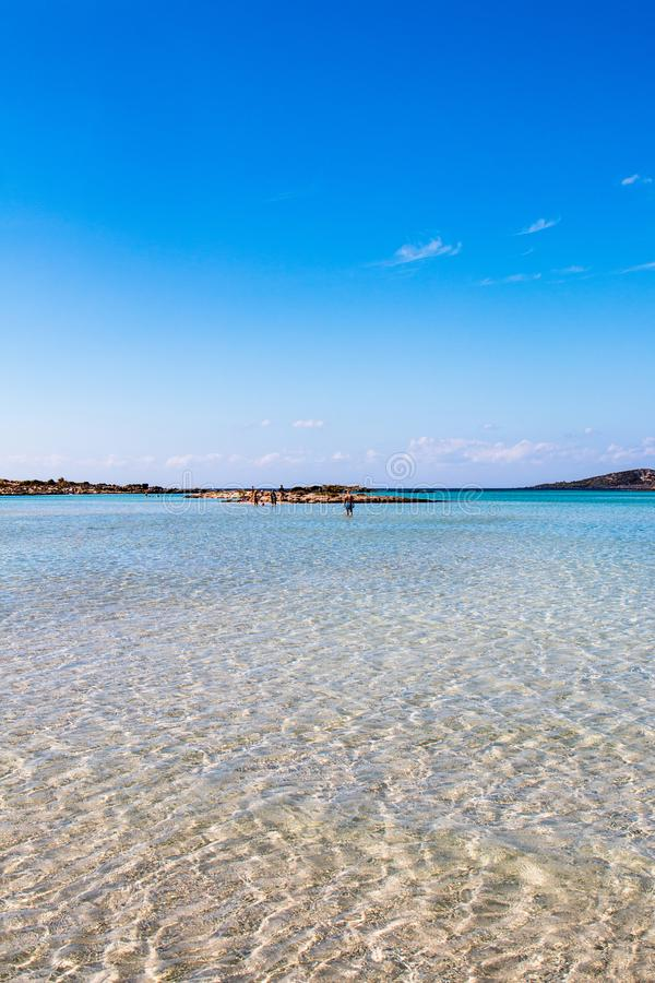 Elafonissi beach, located close to the southwestern corner of the Mediterranean island of Crete royalty free stock images