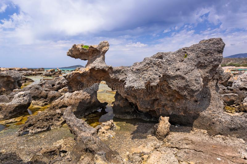 Elafonissi beach with whale shape rock on Crete, Greece royalty free stock photo