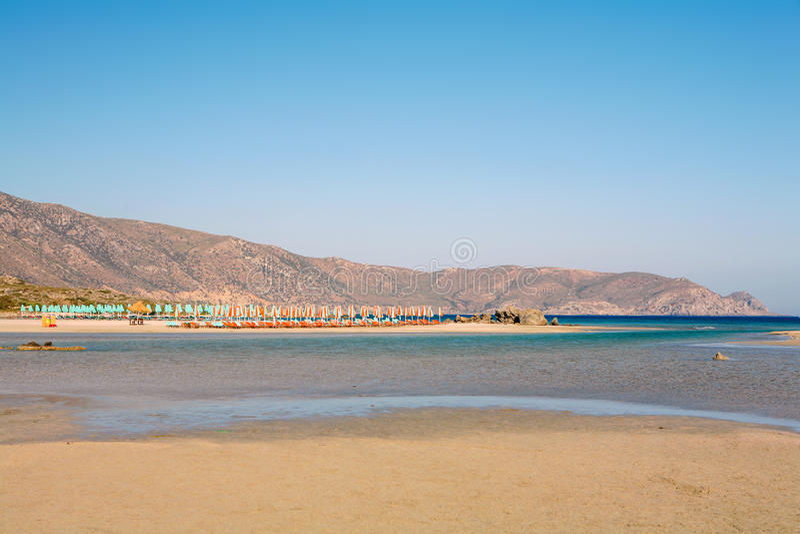 Elafonissos海滩盐水湖 库存图片