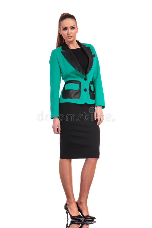 Elagant young business woman standing royalty free stock photography