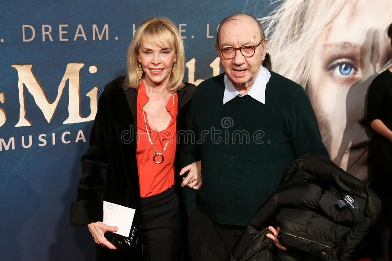 Elaine Joyce, Neil Simon. NEW YORK-DEC 10: Elaine Joyce and Neil Simon attend the premiere of `Les Miserables` at the Ziegfeld Theatre on December 10, 2012 in royalty free stock photography