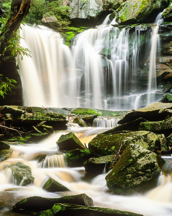 Elakala Spada w Zachodnia Virginia po wiosna deszczu obraz royalty free