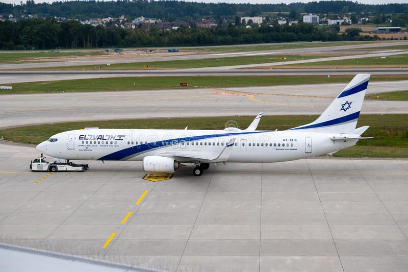 Elal Israel airlines airplane preparing for take-off at day time in international airport stock photography