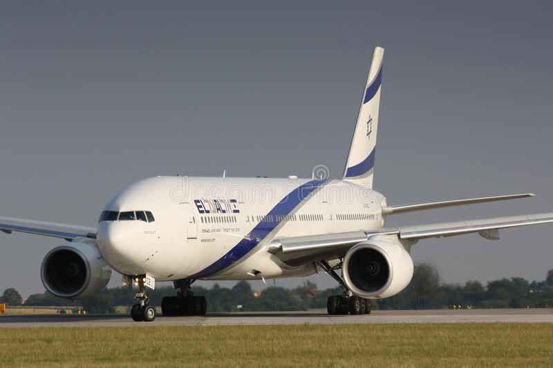ElAl. PRAGUE - JULY 20:B777 El Al taxi for take off PRG in Prague, CZE on July 20, 2010. EL AL has one of the best safety and tight security in the industry royalty free stock photos