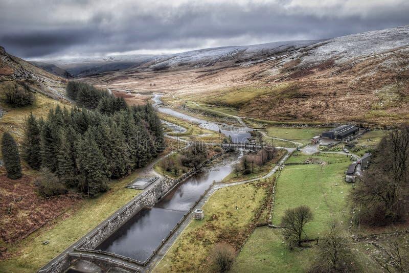 Elan Valley in Galles durante la neve fotografia stock