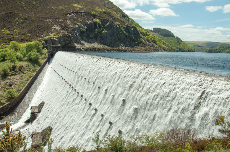 The Elan valley in the summertime of Wales, UK. A summertime scene at Caban Coch main dam in the Elan valley of Wales, UK stock images