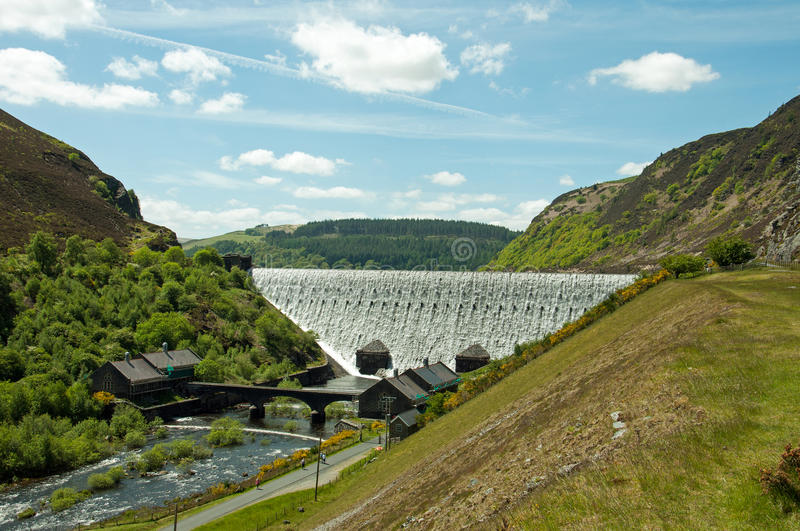 The Elan valley in the summertime of Wales, UK. A summertime scene of the main dam at Caban Coch in the Elan valley in Wales, UK stock images