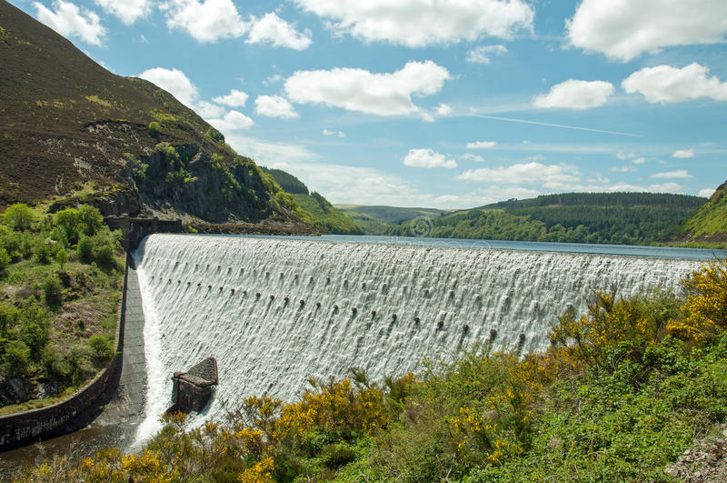 The Elan valley in the summertime of Wales, UK. A summertime scene in the Elan valley, and the Rhayader dams in Wales, UK stock photos